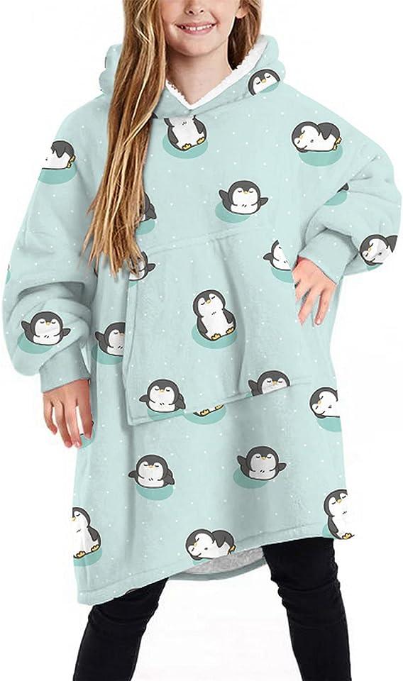 Children hoodie Blanket Fluffy Sweatshirt with Big Pocket Oversized Soft Warm Fleece Snuggle Wearable Blanket for Kids