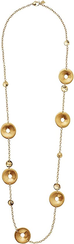 Gold Long Disc Station Necklace