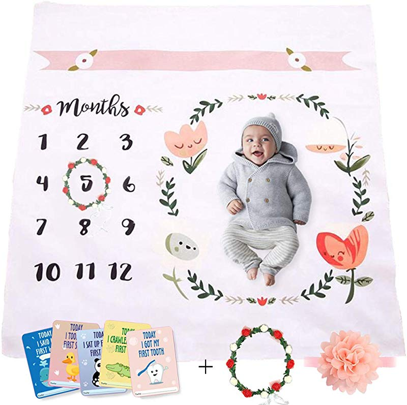 Baby Monthly Milestone Blanket Throw For Infant Babies 0 3 Months 3 6 6 9 9 12 Photography Backdrop Photo Prop For Newborn Boy Girl New Mom Baby Shower Gift Multi