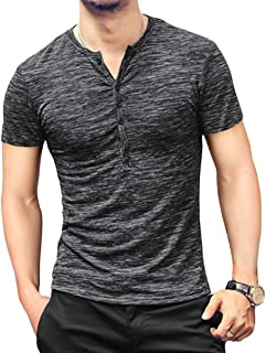 KUYIGO Mens Casual Slim Fit Basic Henley Short Sleeve Fashion Summer T-Shirt