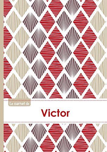 Le carnet de Victor - Lignes, 96p, A5 - Pétales Japonaises Violette Taupe Rouge (Adulte)