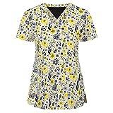 Women Short Sleeve V-Neck Tops Workwear T-Shirt Christmas Thanksgiving Print Cute Scrub_Top Working Uniform Blouse(Yellow,XL)