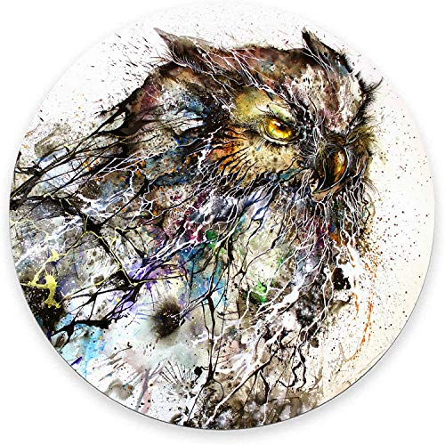 Round Mouse Pad, Oil Painting Owl Mouse Pad, Cool Animal Gaming Mouse Mat Waterproof Circular Small Mouse Pad Non-Slip Rubber Base MousePads for Office Home Laptop Travel, 7.9'x0.12' Inch