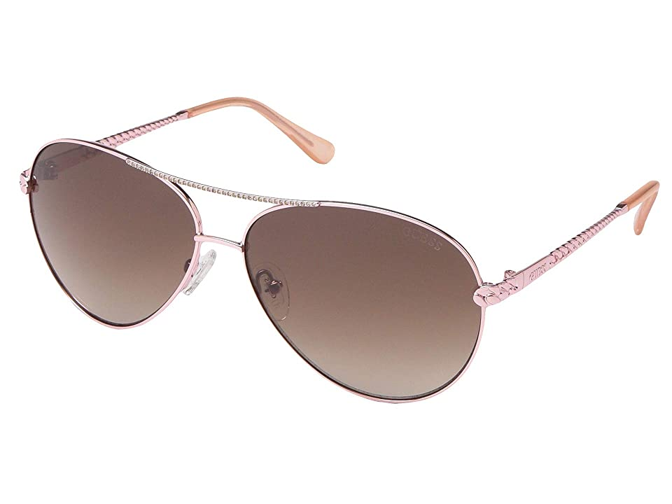 GUESS GU7470 (Shiny Rose Gold/Gradient Brown) Fashion Sunglasses