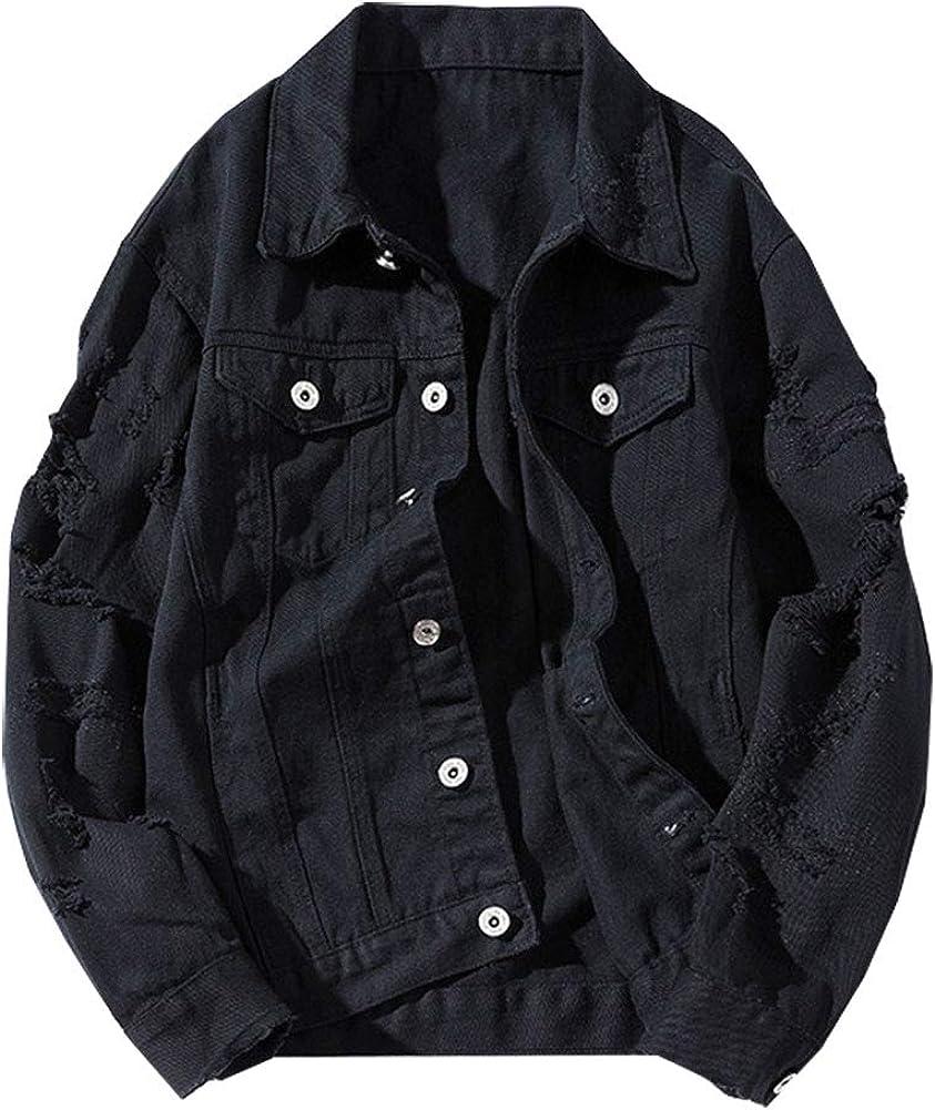 KEDERA Womens Girls Cute Distressed Denim Jacket Ripped Plus Size Long Sleeve Jean Jacket