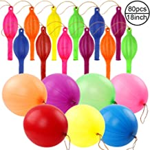 RUBFAC 80 Punch Balloons, Neon Punching Balloons with Rubber Band Handles, 18 Inches, Various Colors Punch Balls, for Gifts, Daily Games, Weddings