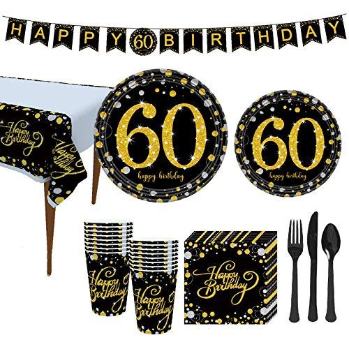 VAINECHAY 16 Gäste Einweg Pappteller Partyzubehör Partygeschirr Folie Pappteller Servietten Pappbecher Trinkhalme Messer Gabel Löffel Tischdecke Banner 60.Geburtstag Schwarze Gold, 114 Stück