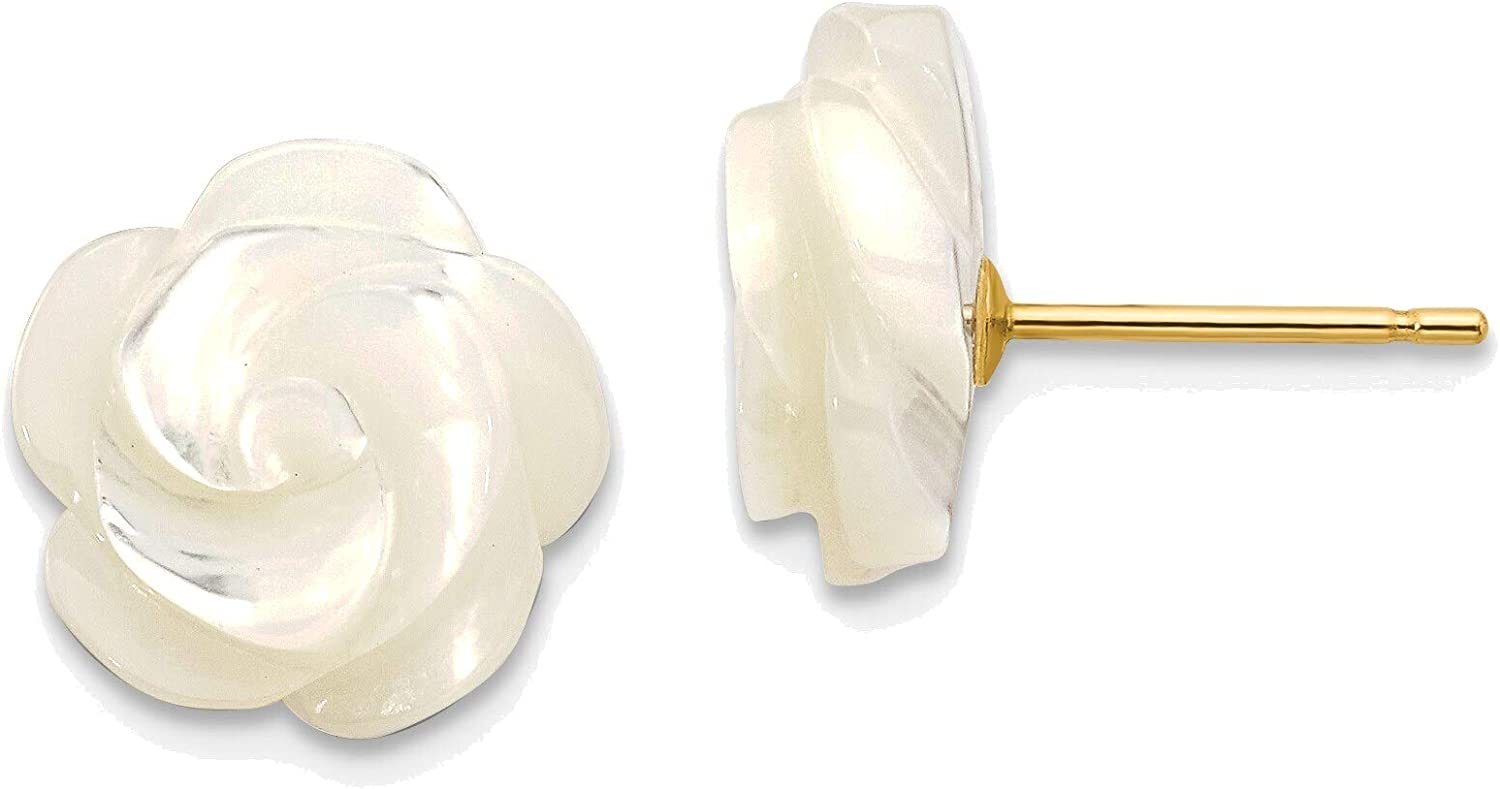 10mm White Mother of Pearl Flower Design Post Stud Earrings in 14K Yellow Gold