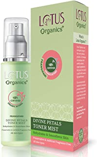Lotus Organic+ Divine Petals Natural Toner Mist for Face – Alcohol-Free, No Artificial Fragrance, 100% Certified Organic A...