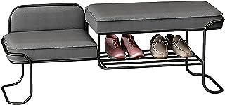 QDY Skohållarbänk Metallram Skostativ med 2-vadderat säte för entré, vardagsrum, sovrum enkel montering, 80 x 40 x 42 CM