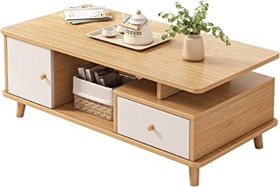 Upgraded Furniture Coffee Table Coffee Table with Drawer and Open Storage Compartment for Living Room Small Side Lockers