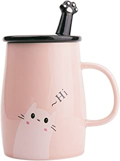 Angelice Home Pink Cute Cat Mug Funny Ceramic Coffee Mug with Stainless Steel Spoon, Novelty Coffee Mug Gift for Kitty Lovers