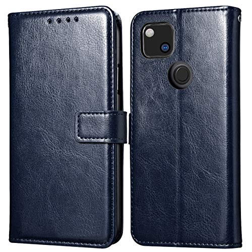 Case for Google Pixel 4a, Premium Folio Leather Flip Wallet Phone Case with [Kickstand] [Card Slots] [Magnetic Closure] Flip Notebook Cover Case (Blue)