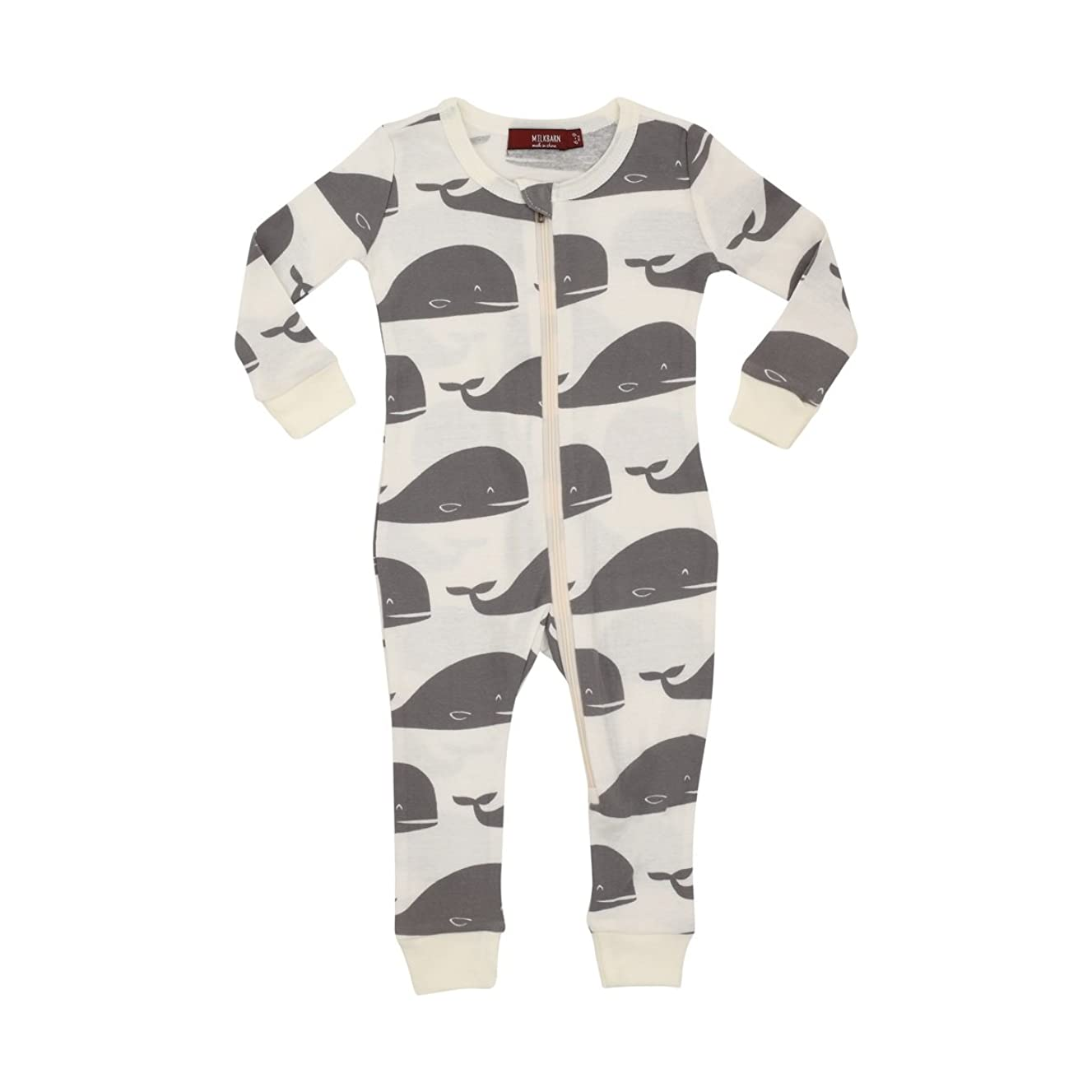 MilkBarn Organic Cotton Zipper Pajama - Grey Whale