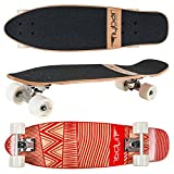 "Flybar Skate Cruiser Boards – 24"" – 27.5 Strong 7 Ply Canadian Maple Complete Skateboards - 60mm PU Wheels with High Speed ABEC 9 Bearings"