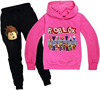 Baonmy Boys Roblox Jersey con capucha y pantalones, trajes de chándal Personajes de dibujos animados Suéter de algodón con...