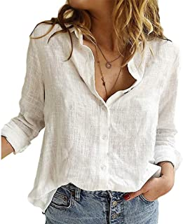 HEFASDM Womens Button Down Solid Color Linen Cotton Long Sleeve Shirts Tunic Tops Blouse