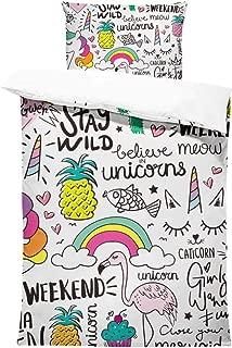 SHINICHISTAR Unicorn Comforter Set for Kids Teens Girls 3 Pieces Cartoon Drawing Bedding Sets Twin Size