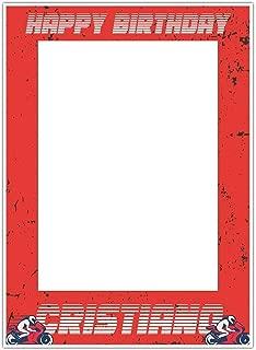 Motorcycle Red Birthday Selfie Frame Poster