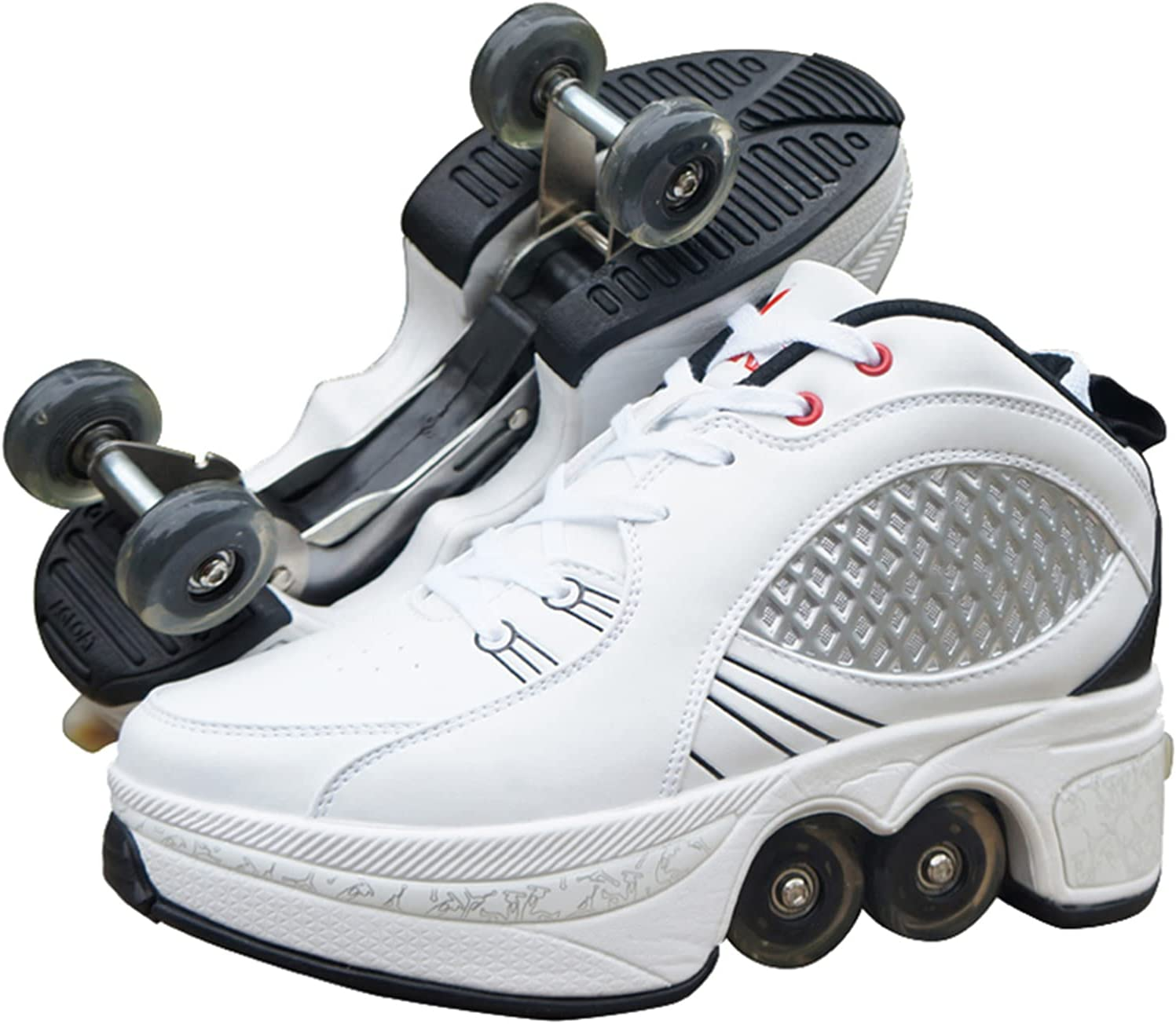 Patines de Ruedas Ajustables, Zapatillas con Ruedas Automática Calzado De Skateboarding Zapatillas De Skate con Ruedas Patines En Línea para Adultos Y Niños