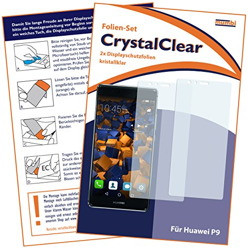 mumbi Schutzfolie kompatibel mit Huawei P9 Folie klar, Displayschutzfolie (2X) - 2