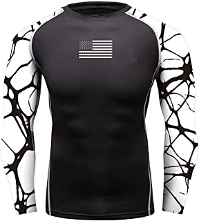 O2TEE Men`s American Flag Soft Slim Long Sleeve Compression Gym Trainning Casual Top