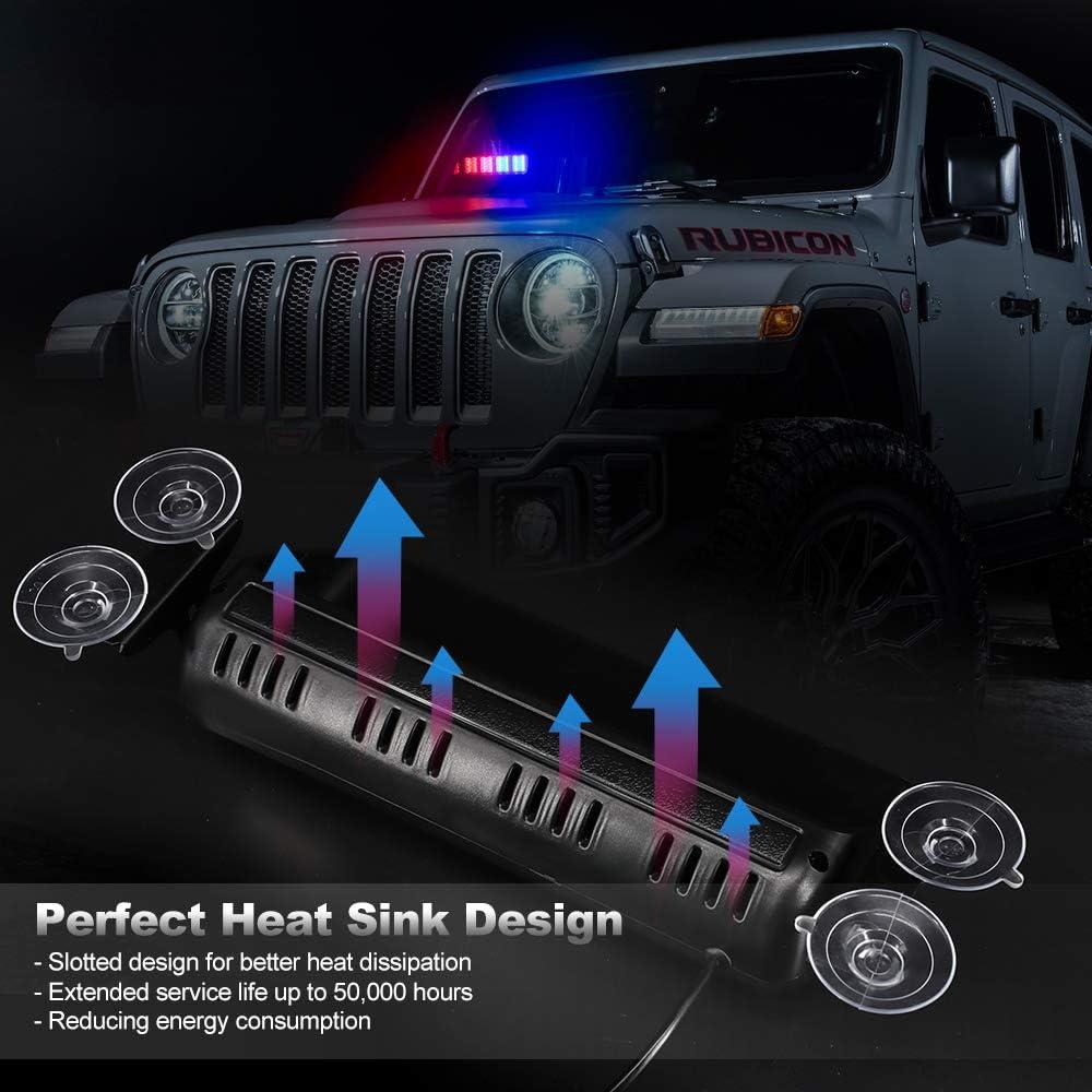 Calevin 12V 32 LED Barre de feux de d/étresse avertisseur de danger avec ventouse Voyant de police clignotant Stroboscopique davertissement durgence rouge et bleu