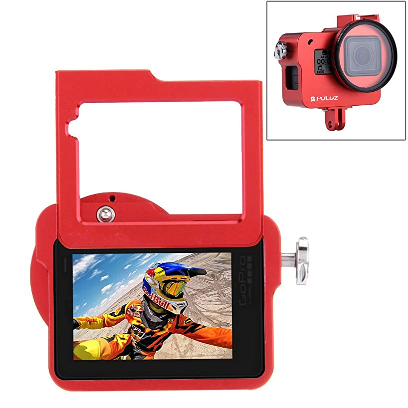 PULUZ Housing Shell Case CNC Aluminum Alloy Protective Cage with Insurance Frame & 52mm UV Lens for GoPro Hero 7 Black HERO6/ 5 New Hero (Red)
