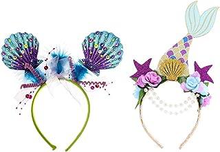 SOLUSTRE 2pcs Glitter Mermaid Headband Halloween Cosplay Headband Mermaid Hair Accessories for Women