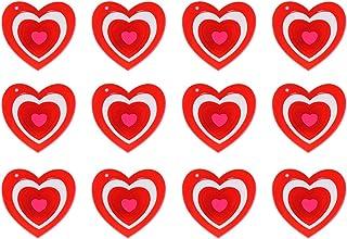 Amosfun 15pcs Broches LED en forma de corazón Decoración para el Día de San Valentín (Rojo)