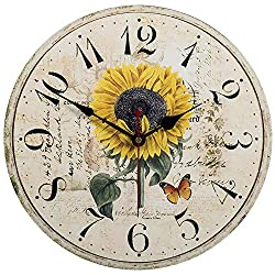 Kitchen Wall Clock - Home Decorative,14 Inch (Sunflower) Silent Non-Ticking Quartz Battery Operated Clock,Large Easy To Read Vintage Wooden Style for Living Room,Bedroom,Kids Room and Coffee Bar