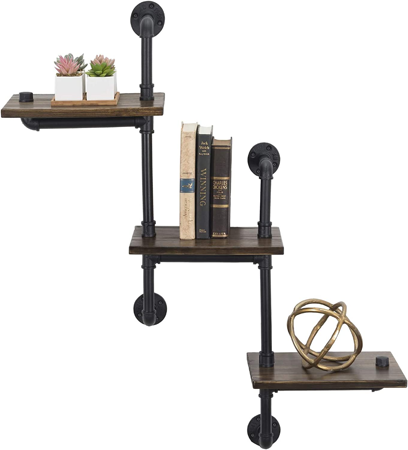 3-Tier Wooden Wall Ladder Floating Rustic Shelf 35 x40  With Iron Black Pipe Hardware For Bedroom, Kitchen, Office