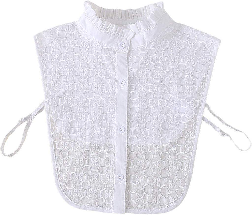YOUSIKE Detachable Blouse, Women Elegant White Detachable False Fake Collar Jacquard Leaves Circle Winter Sweater Decorative Ruffles Lapel Half-Shirt Blouse Clothing