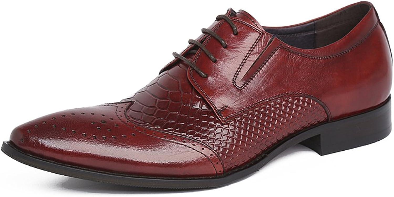 Santimon Men's Serpentine Leather Formal Elastic Semi Brogue shoes
