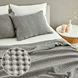 MHD l Modal Waffle Blanket : Breathable for Hot Sleeper, Skin-Friendly Natural Material - Pure Cotton Blended Modal Fabric, King Size (82' x 105'), Grey, Made in Korea