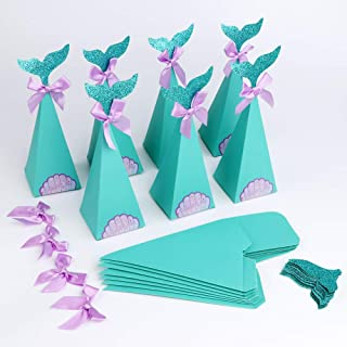 PartyTalk 50pcs Mermaid Party Boxes Favors Mermaid Gift Bags with Thank You Stickers for Kids Birthday Baby Shower Under T...