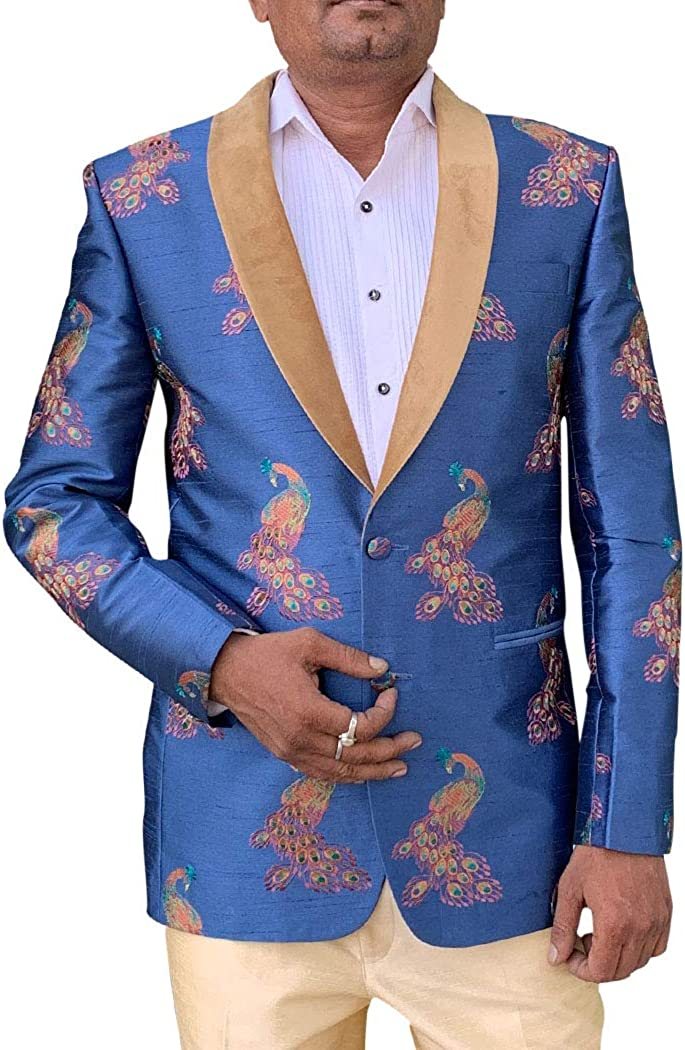 INMONARCH Embroidered Steel Blue Mens Shawl Collar Blazer Sport Jacket Coat SBM1077