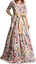 BHJTR Floral Dress with Bow Long Dress Floral Dress Short Sleeve Elegant Long Skirt 2 Colour