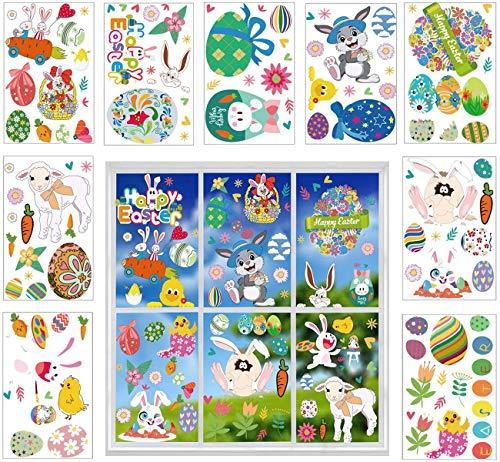 9 Feuilles Stickers Pâques Fenetre,Autocollants Lapin de Pâques,Autocollants Oeufs de Pâques,Décorations de Pâques pour Maison,Bureau,Fête de Pâques Décoration (A)
