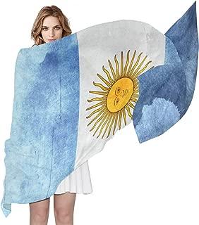 Argentina Flag Retro Women's Shawl Fashion Scarf Silk Like Wrap for Dresses Wedding