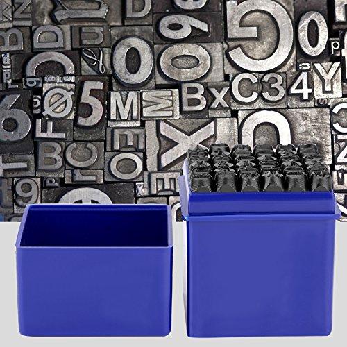 Greensen 36 Pcs Brief- und Nummernstempel-Set Kohlenstoffstahl 6mm Schlagbuchstaben Stempel Anzahl A bis Z und Nummer 0 bis 9 Siegelstanzwerkzeuge zum Stempeln von Metall, Schmuck, Leder, Holz