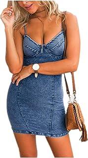 89acc5ef2091c6 Weant Abiti Donna, Abito Vestito Donna Gonna Corta Elegante Abito Abito Blu  Gonna di Jeans