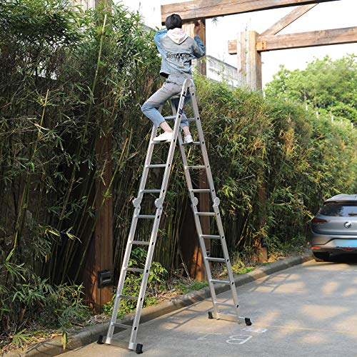 19.5ft Heavy Duty Gaint Multipurpose Aluminum Extension Folding Ladder Scaffold Ladders with 2 Platform Plates- 330Lbs