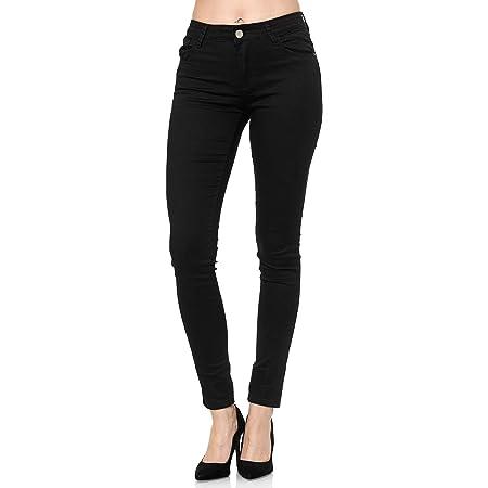 elara Pantalones Vaqueros Mujer Push Up Skinny Chunkyrayan Negro YA528 Black 48 (4XL)