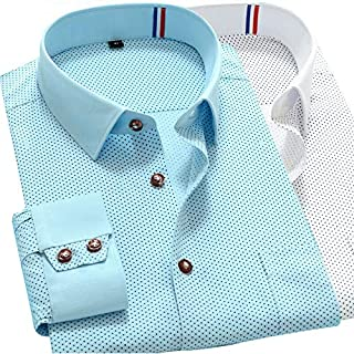 Mens Dress Shirts Long Sleeves Button Luxury Casual Slim Polka Dot Camisas 6249