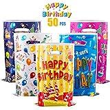 GWHOLE 50 x Bolsas para Cumpleaños Colores, Bolsas Plástico para Regalos Cumpleaños Fiestas Festival