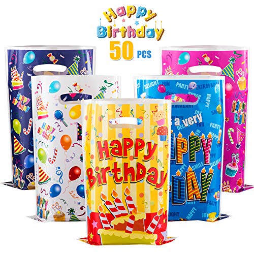 GWHOLE 50 x Bolsas para Cumpleaños Colores, Bolsas Plástic