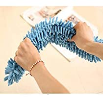 Reunirse Flexible Microfiber Cleaning Duster Brush For Ceiling Fan Home Cleaning Floor, Wall and Ceiling Flexible Broom/Brush/Mop with Extendable Steel Handl (Multi Colour) (Blue)