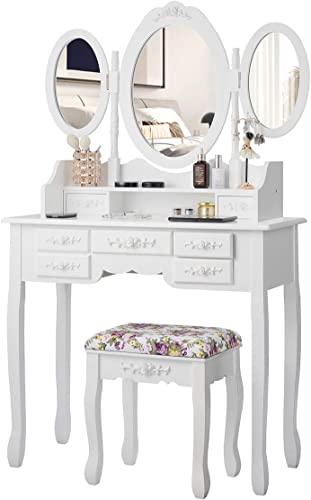2021 CHARMAID Vanity Set with Tri-Folding Mirror and 2021 Cushioned Stool, Dressing Table with 7 Drawers and a Shelf, Antique Makeup Table with Removable online sale Top, Vintage Makeup Vanity Set for Women Girls (White) online