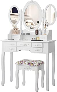 CHARMAID Vanity Set with Tri-Folding Mirror and Cushioned Stool, Dressing Table with 7 Drawers and a Shelf, Makeup Table Writing Desk with Removable Top, Makeup Vanity Set for Women Girls (White)